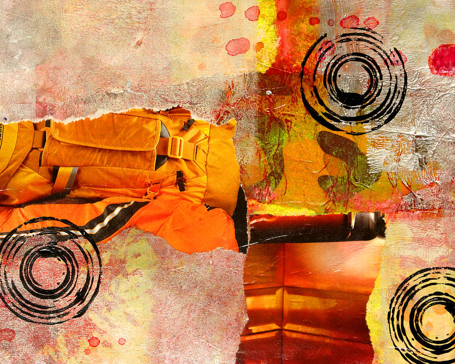 cross town bus abstract collage painting mixed media by