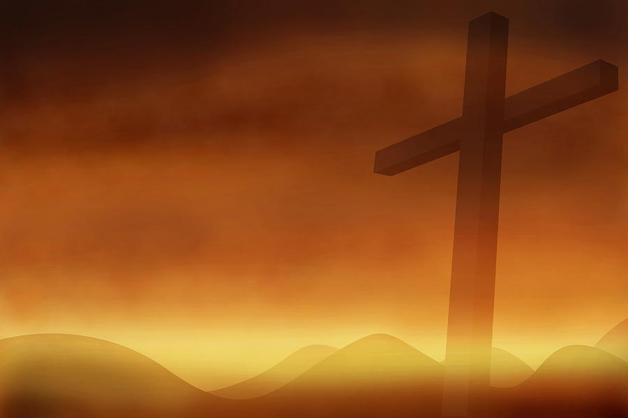 Cross With The Sunset  Background Photograph