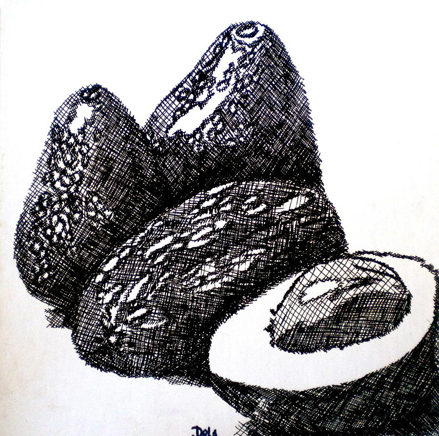 Crosshatched Avocados Painting