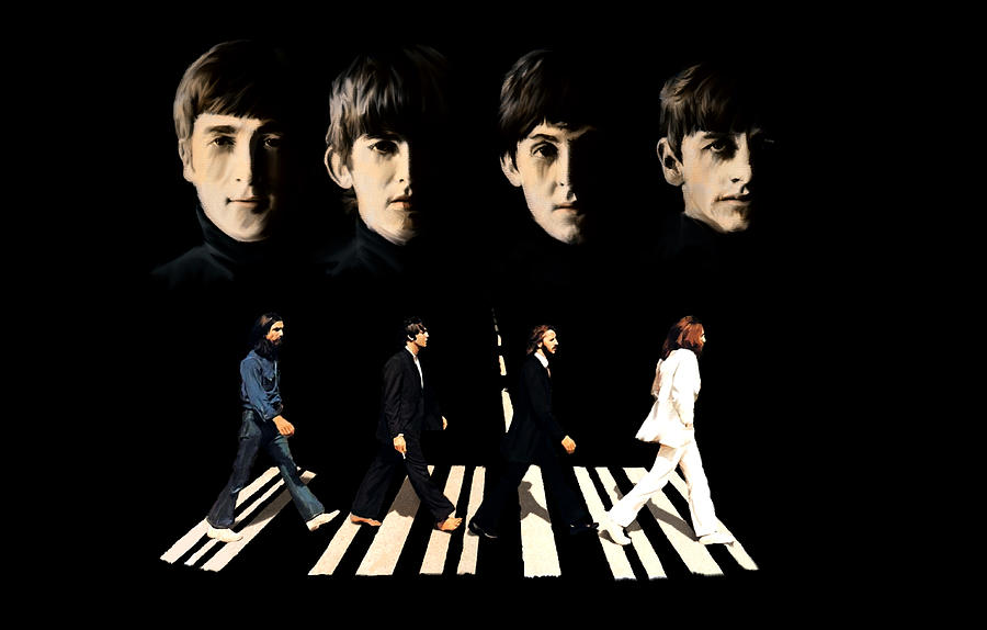 Crossing Into History The Beatles  Painting