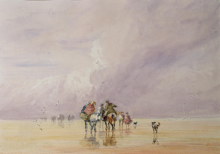 Beach Drawing - Crossing Lancaster Sands by David Cox