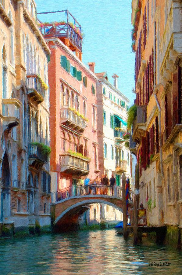 Crossing The Canal Painting  - Crossing The Canal Fine Art Print
