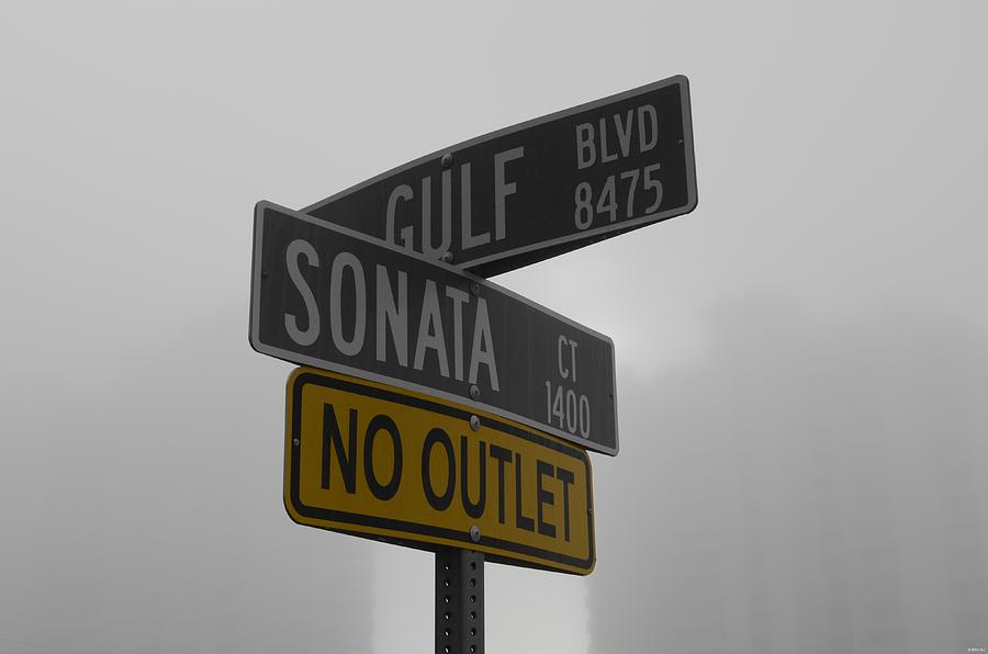 Crossroad Signs In The Fog Photograph