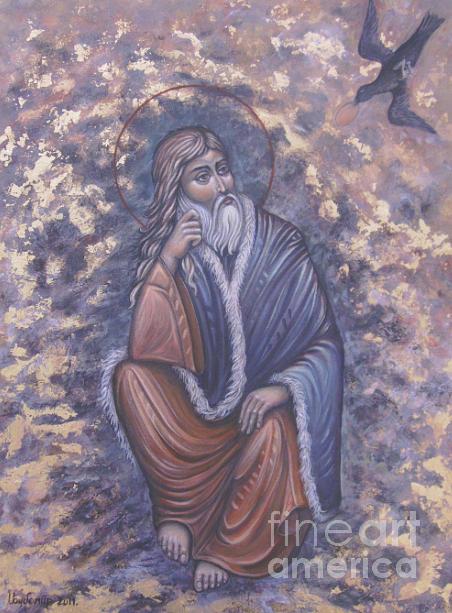 Crow Feeding Saint Ilia  Painting