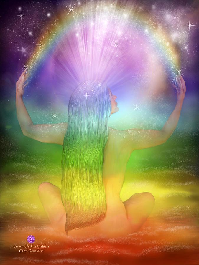 Crown Chakra Mixed Media - Crown Chakra Goddess by Carol Cavalaris