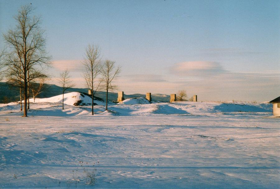 Crown Point Chimneys With Snow Photograph
