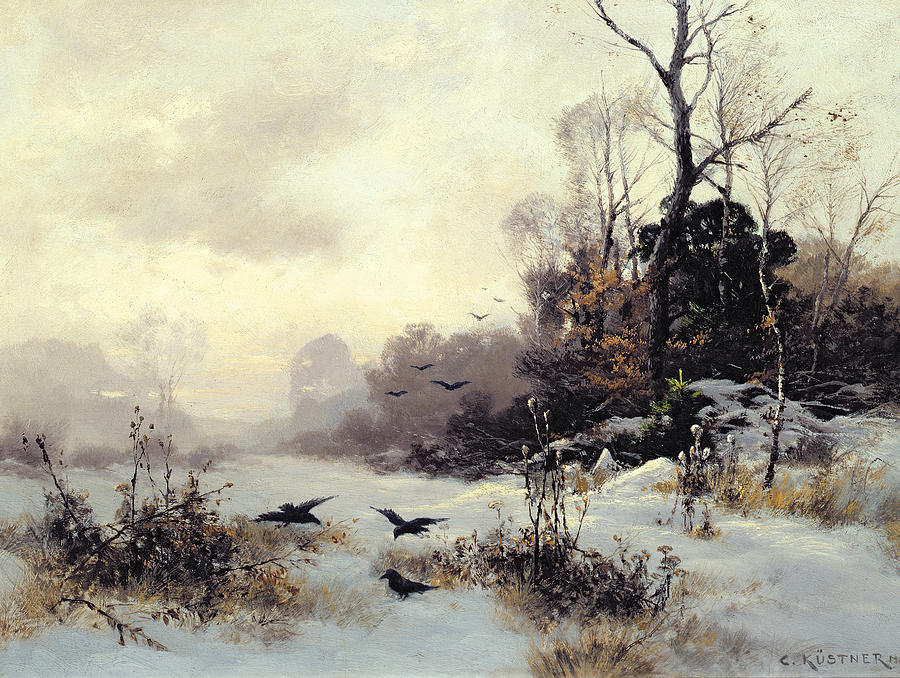 Crows In A Winter Landscape Painting