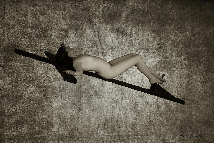 Crucified Woman In Sepia  Photograph  - Crucified Woman In Sepia  Fine Art Print