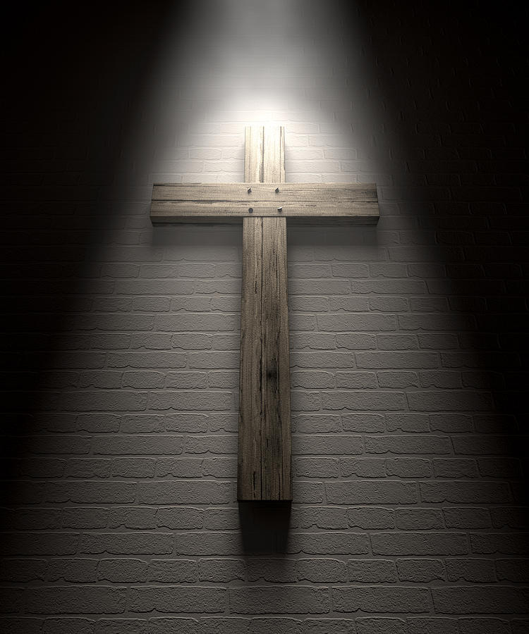 Crucifix On A Wall Under Spotlight Digital Art