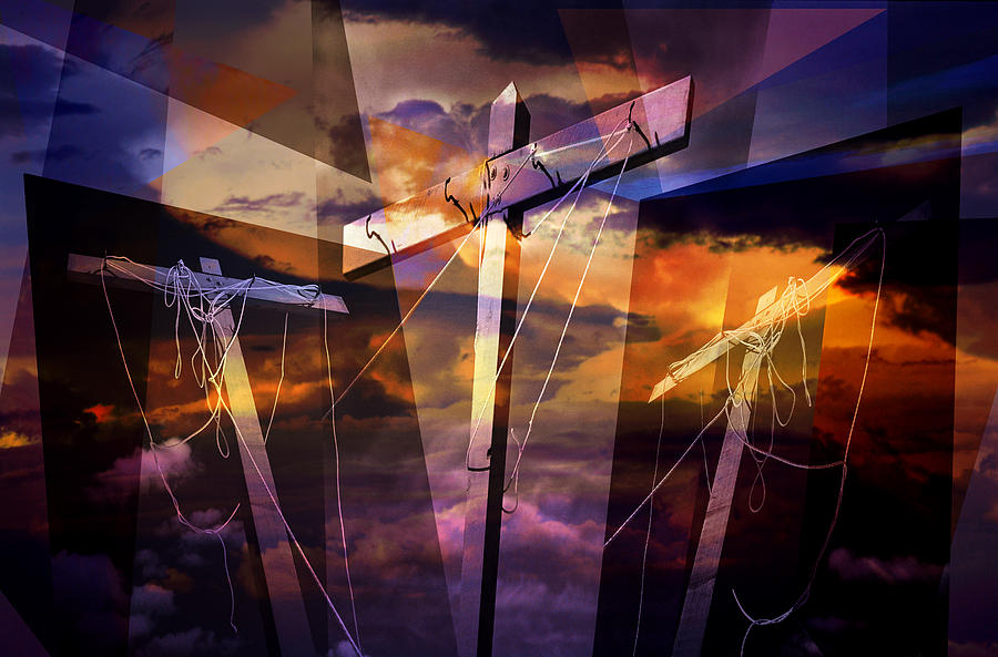 Crucifixion Crosses Composition From Clotheslines Photograph  - Crucifixion Crosses Composition From Clotheslines Fine Art Print