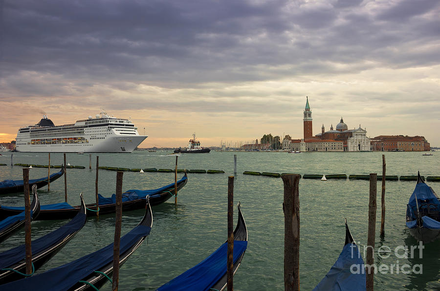 Cruise Ship Entering The Venice Lagoon At Dawn Photograph