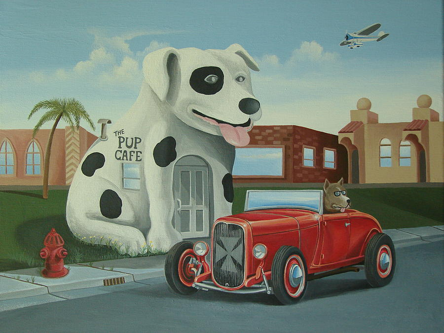 Hotrod Painting - Cruisin At The Pup Cafe by Stuart Swartz