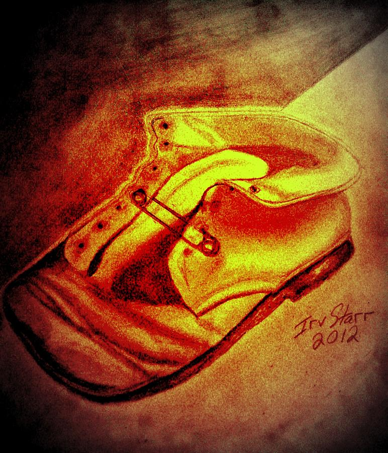 Baby Shoe Memorbilia Child Sentimental Still Life Drawing - Crushed Baby Shoe by Irving Starr