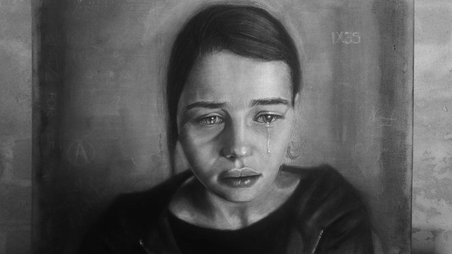 Crying Girl Painting