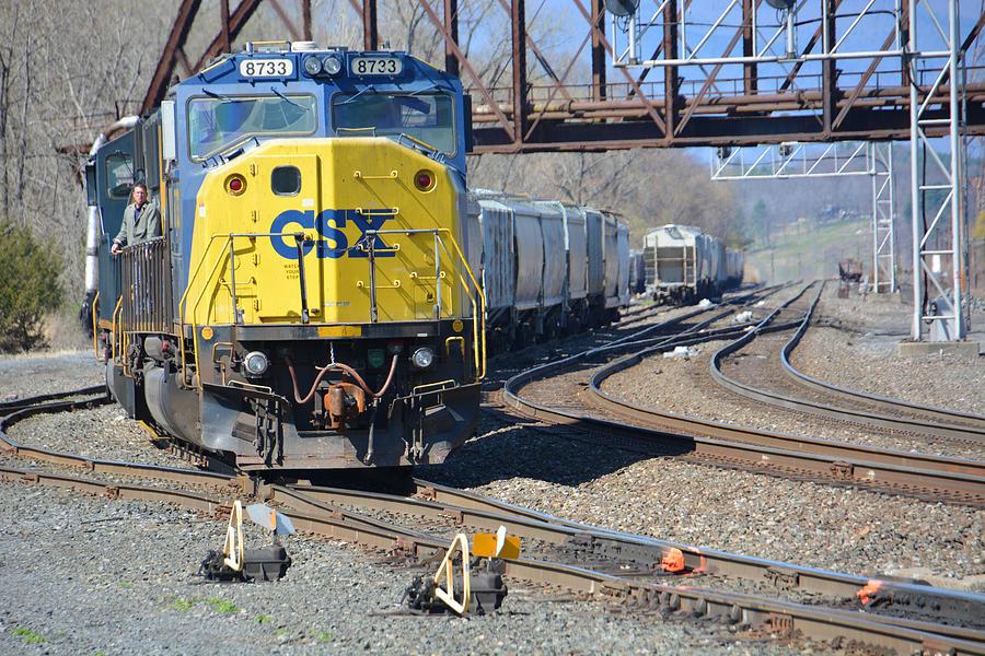 Train Photograph - Csx 8733 by Mike Martin