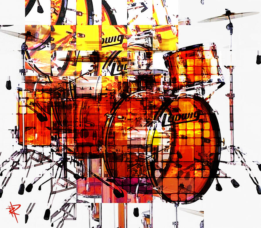 Cubist Drums Mixed Media