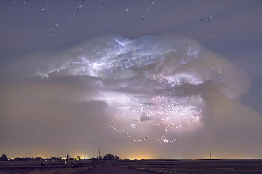 Lightning Photograph - Cumulo-nimbus Lightning Storm And Star Trails Above by James BO  Insogna