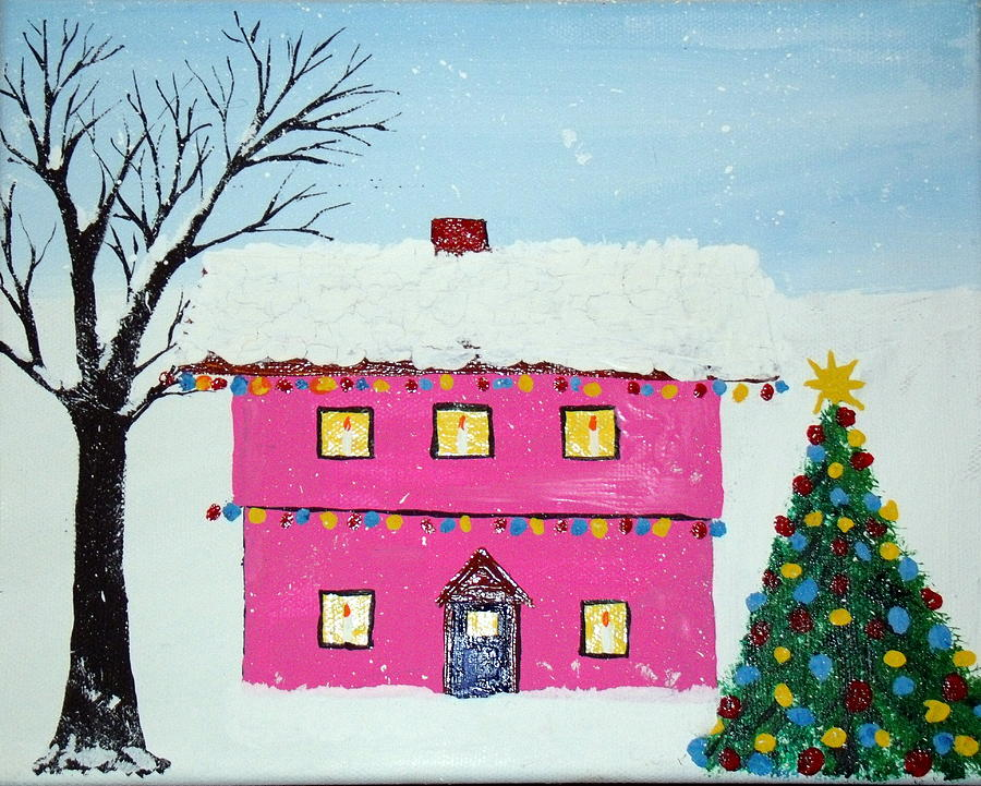Cup cake christmas house painting by daniel nadeau
