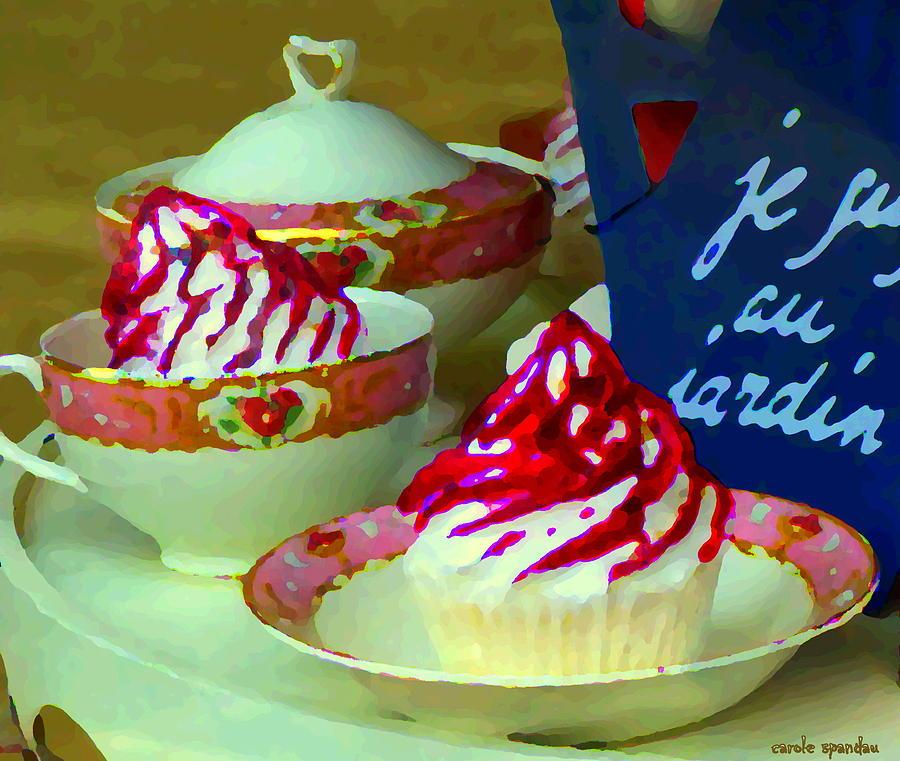 Cupcake Painting - Cupcakes And Tea Je Suis Au Jardin Coffee Shop City Scene Cafe Montreal Food  Art Carole Spandau by Carole Spandau