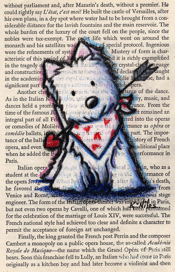 Cupid Westie Drawing  - Cupid Westie Fine Art Print