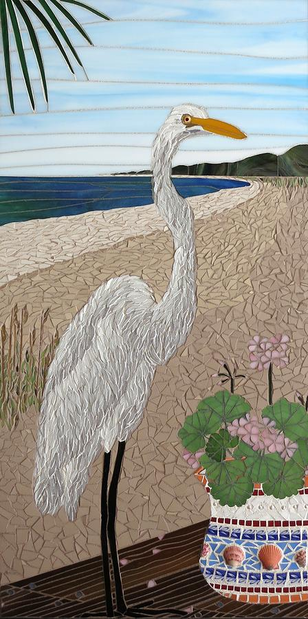 Egret Mixed Media - Curious Neighbor by Linda Pieroth Smith