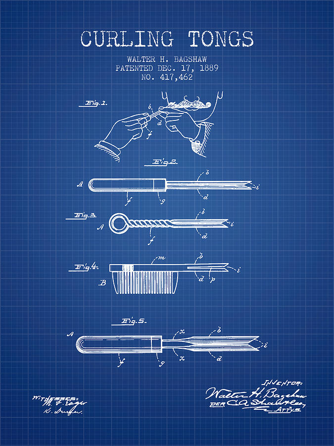 Curling Tongs Patent From 1889 - Blueprint Drawing