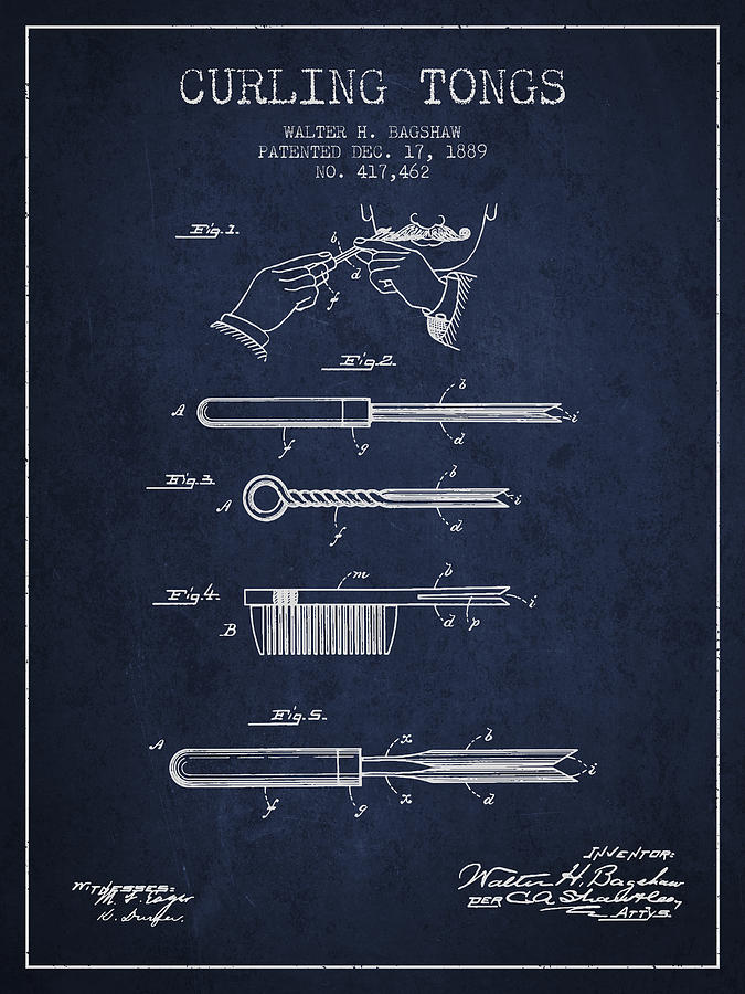 Curling Tongs Patent From 1889 - Navy Blue Drawing