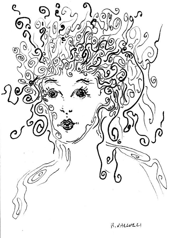 Curly Girl Drawing  - Curly Girl Fine Art Print
