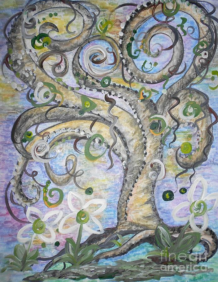 Curly Tree In Fantasy Land Painting  - Curly Tree In Fantasy Land Fine Art Print