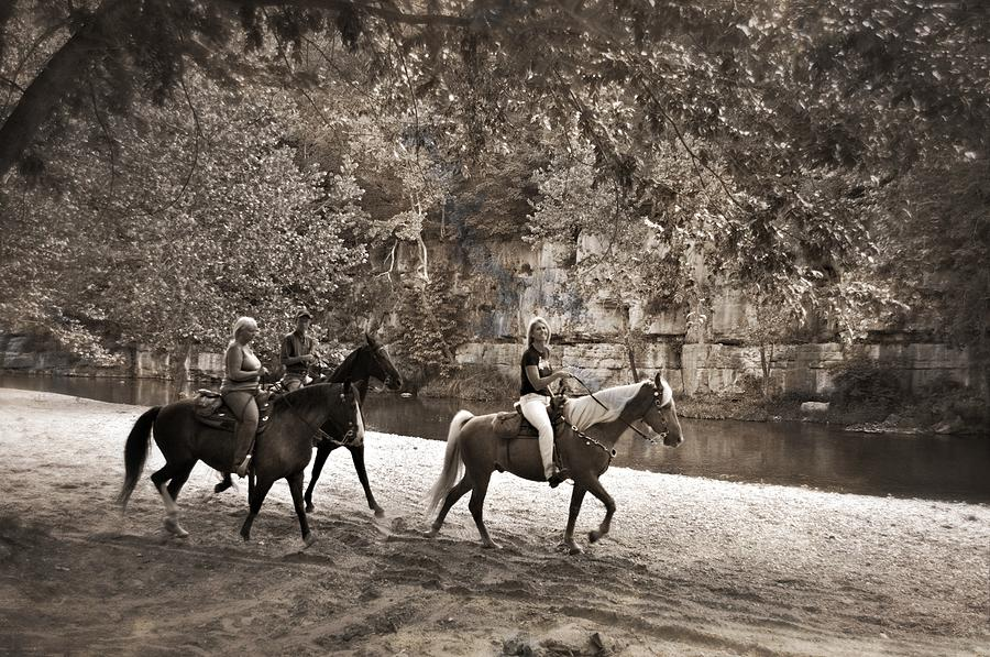 Black And White Photograph - Current River Horses by Marty Koch