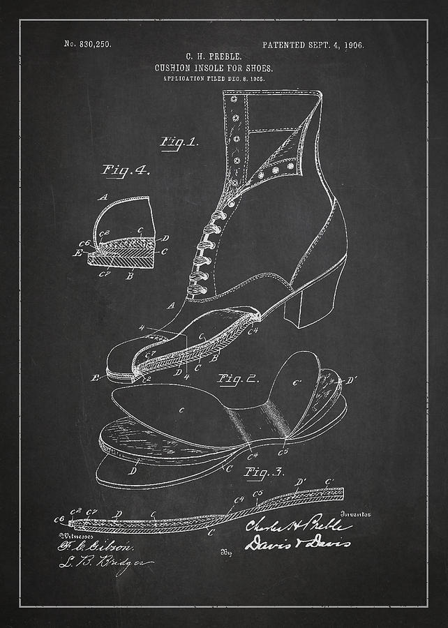 Shoe Drawing - Cushion Insole For Shoes Patent Drawing From 1905 by Aged Pixel