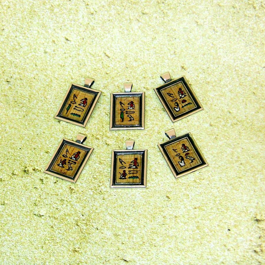 Custom I Love You Egyptian Papyrus Hieroglyphic Necklace Jewelry