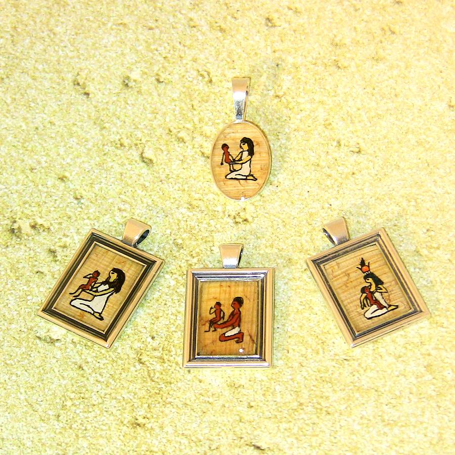 Custom Parents Amulet Egyptian Papyrus Necklace Jewelry