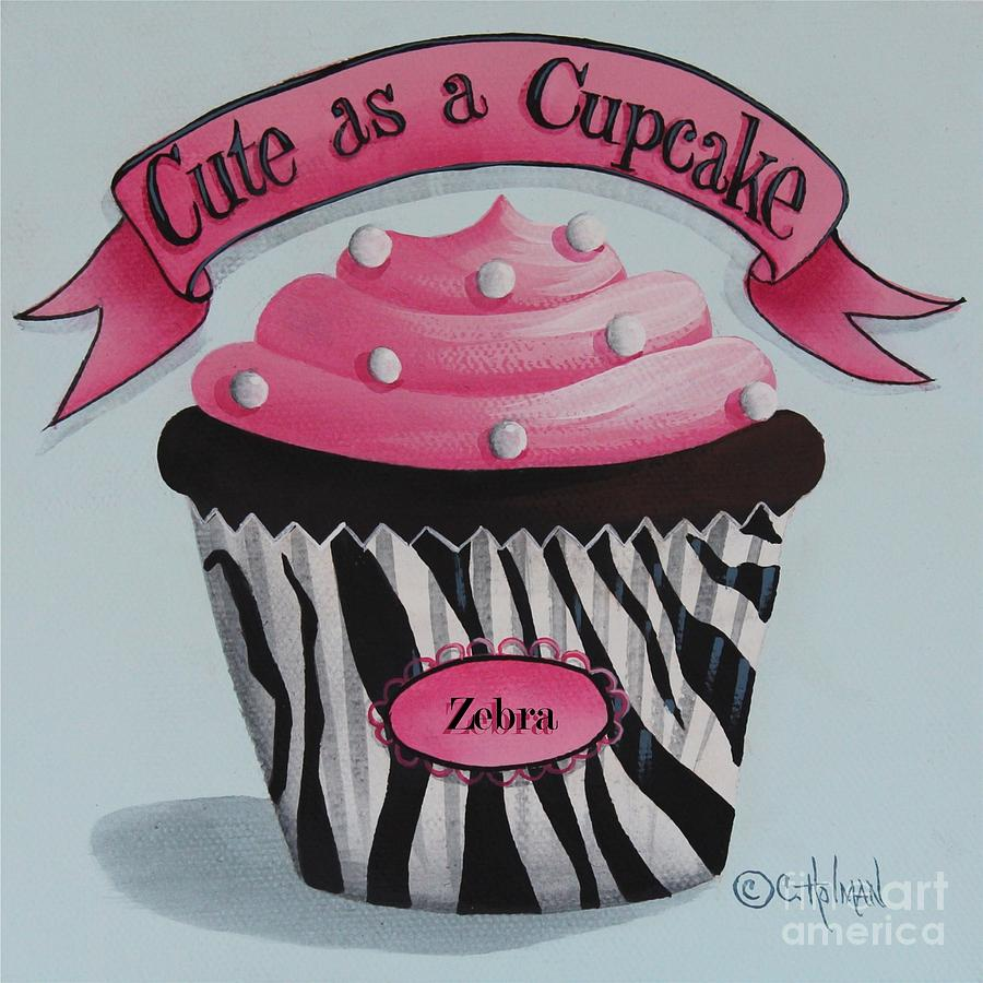 Art Painting - Cute As A Cupcake by Catherine Holman