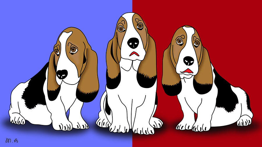 Cute Dogs 2 Digital Art  - Cute Dogs 2 Fine Art Print
