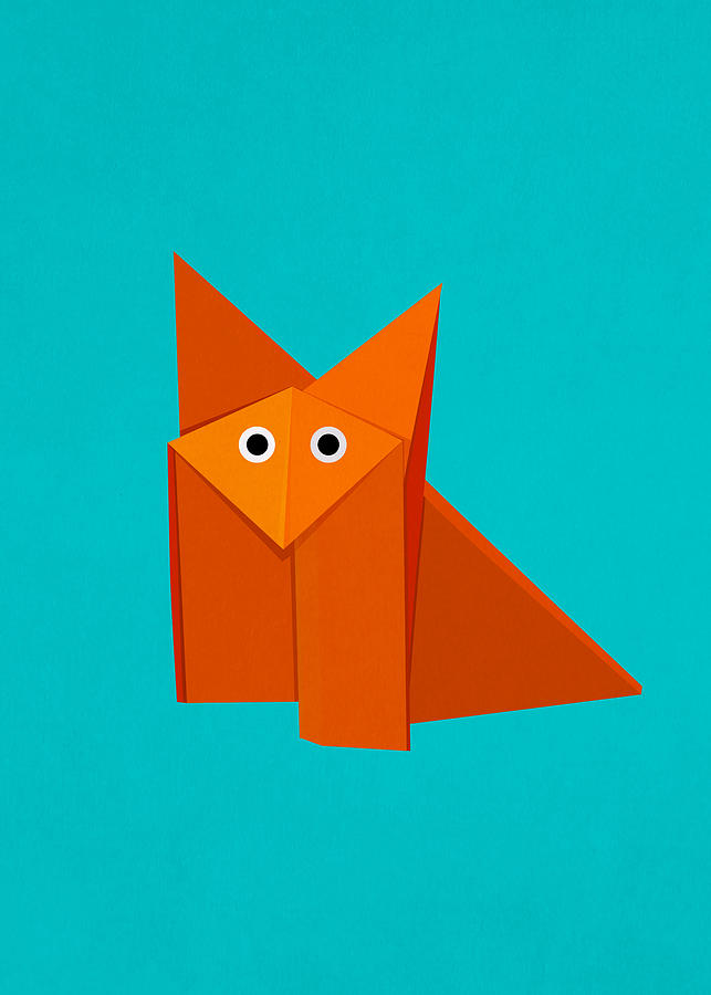 Cute Origami Fox Digital Art  - Cute Origami Fox Fine Art Print