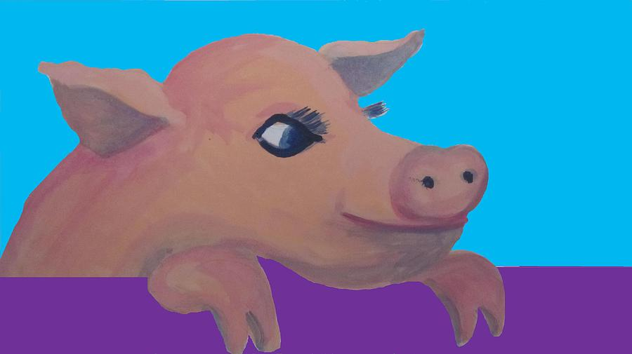 Cute Pig Painting - Cute Pig 1 by Cherie Sexsmith