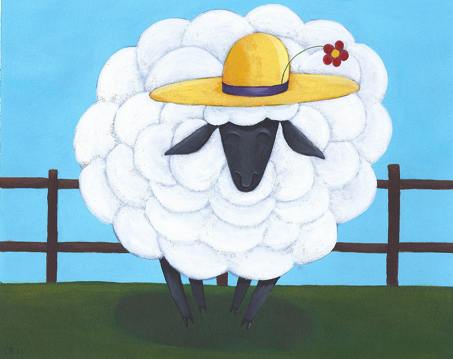 Cute Sheep Nursery Art Painting  - Cute Sheep Nursery Art Fine Art Print