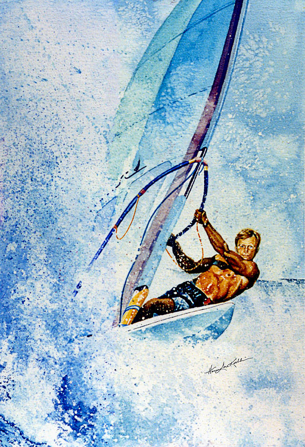 Surfing Painting - Cutting The Surf by Hanne Lore Koehler