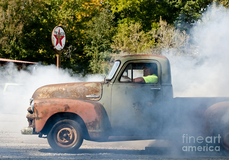 Old Trucks Photograph - Cyclemos Rat Rod Burnout Pit  by Wilma  Birdwell