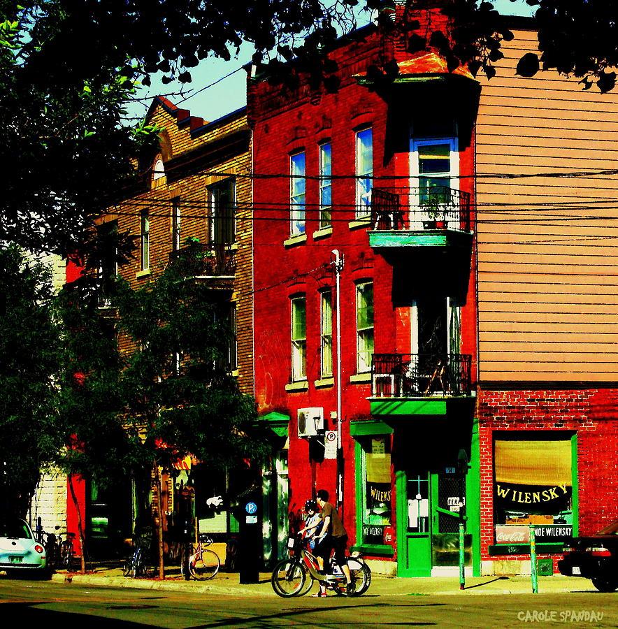 Cyclists Crossing Rue Clark Corner Wilensky Spring Street Scene Montreal Art Carole Spandau Painting