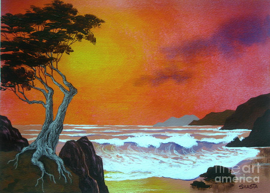 Serenity Scenes Painting - Cypress  Cove by Shasta Eone