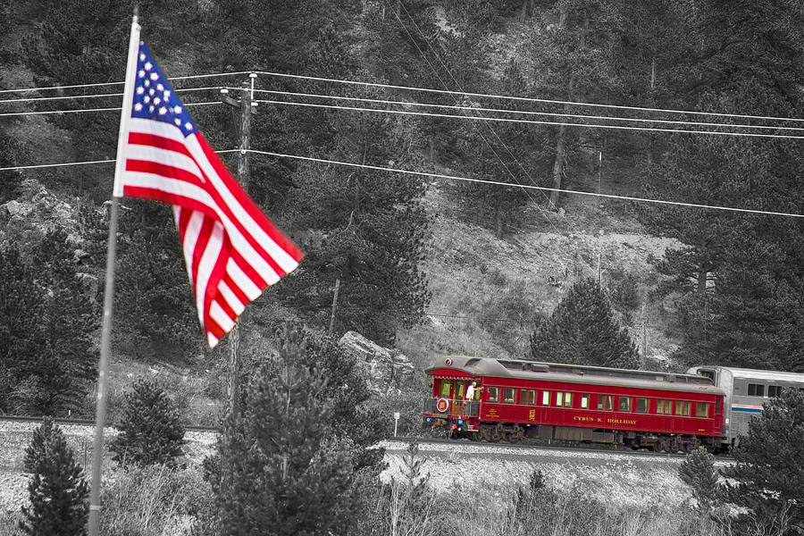 Cyrus K. Holliday Rail Car And Usa Flag Bwsc Photograph  - Cyrus K. Holliday Rail Car And Usa Flag Bwsc Fine Art Print