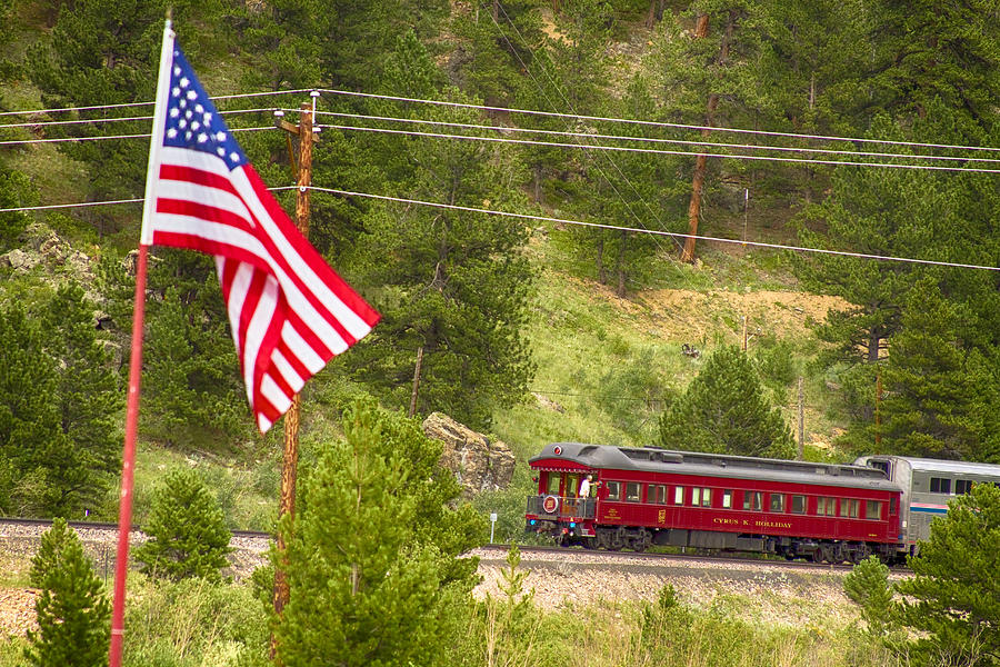 Cyrus K. Holliday Rail Car And Usa Flag Photograph