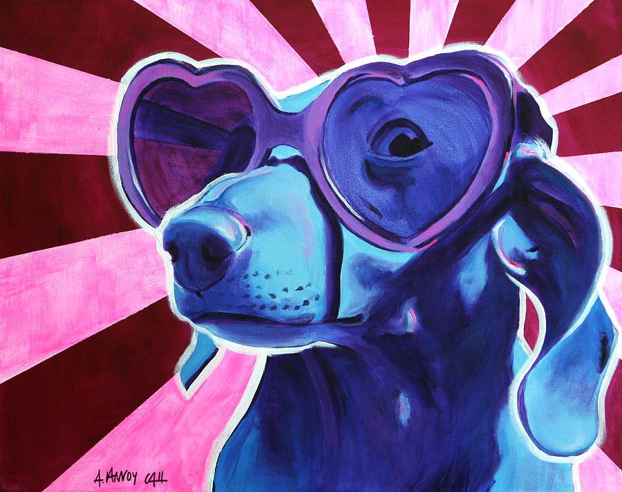 Dachshund - Puppy Love Painting