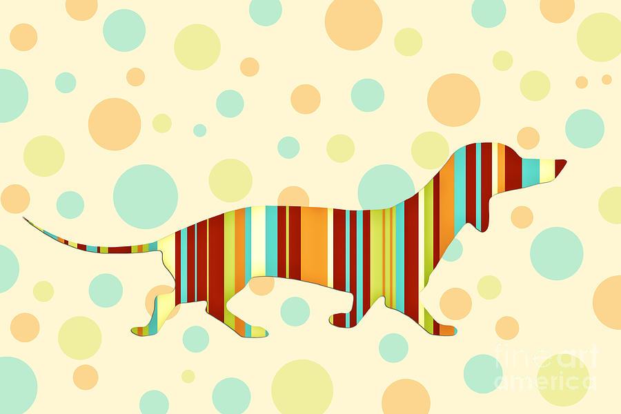 Dachshund Fun Colorful Abstract Digital Art