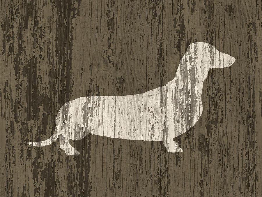 Doxie Digital Art - Dachshund On Wood by Flo Karp