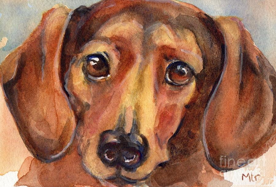 Dachshund Dog Painting - Dachshund Watercolor by Marias Watercolor