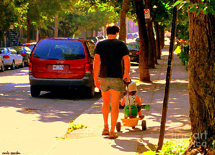 Montreal Painting - Daddys Little Buddy Perfect Day Wagon Ride Montreal Neighborhood City Scene Art Carole Spandau by Carole Spandau