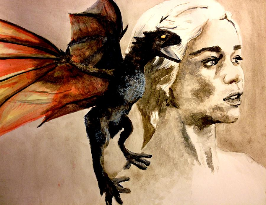 Daenerys Khaleesi Mother Of Dragons Painting  - Daenerys Khaleesi Mother Of Dragons Fine Art Print